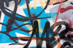 Abstract graffiti on the wall. Abstract old chaotic graffiti on a dilapidated wall Royalty Free Stock Image