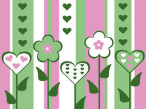 Abstract old fashioned cut out style pink and green flower and heart valentines day card striped background illustration Stock Images