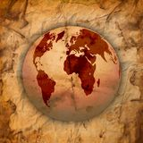Abstract Old grungy paper and world map Stock Images