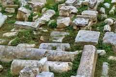 Stone ruins of antiquity. Abstract old stone ruins of antiquity on the color photo Stock Images