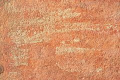 Abstract old terracotta plastered red wall texture background.  Royalty Free Stock Photo