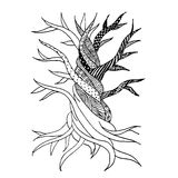 Abstract old tree with roots, zen doodle Royalty Free Stock Images