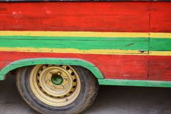 Abstract old vintage retro local public transportation bus painted.  stock images