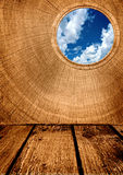 Abstract old wooden floor and wall with window. And blue sky Stock Photo