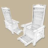 Old wooden rocking chair - Hand drawn Stock Image