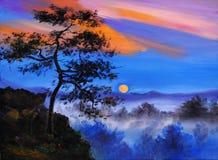 Abstract olieverfschilderij - boom op de berg, op bosachtergrond Stock Foto
