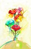 Abstract olieverfschilderij van de lentebloem Stilleven van gele, groene en rode gerbera en papaver vector illustratie