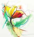 Abstract olieverfschilderij van de lentebloemen royalty-vrije illustratie