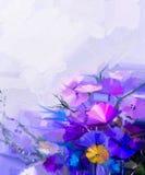 Abstract olieverfschilderij van de lentebloemen Royalty-vrije Stock Foto's