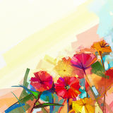 Abstract olieverfschilderij van de lentebloemen Stilleven van gele en rode gerberabloem Stock Foto
