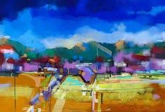 Abstract olieverfschilderijlandschap vector illustratie