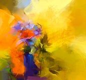 Abstract olieverfschilderijstilleven van rode gerberabloem vector illustratie