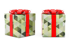 Abstract Olive Green Polygon Geometric Textured Gift Box with Re Royalty Free Stock Image