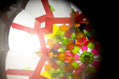 Abstract Onderzoekend Geometrische Vormen Caleidoscoop Als achtergrond Stock Afbeeldingen
