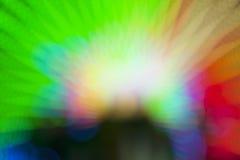 Abstract onduidelijk beeld bokeh van kleurrijke lichten binnen pretparktunnel bij nacht Royalty-vrije Stock Foto's