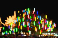 Abstract onduidelijk beeld en bokeh van lichten bij tempel in Thailand Stock Afbeeldingen