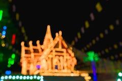 Abstract onduidelijk beeld en bokeh van lichten bij tempel in Thailand Royalty-vrije Stock Afbeelding