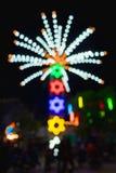 Abstract onduidelijk beeld en bokeh van lichten bij tempel in Thailand ferris Stock Afbeelding