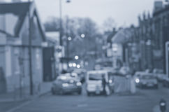 Abstract onduidelijk beeld op de weg met auto's in Manchester het UK Engeland Stock Foto's