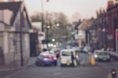 Abstract onduidelijk beeld op de weg met auto's in Manchester het UK Engeland Stock Afbeeldingen