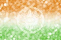 Abstract onduidelijk beeldontwerp als achtergrond van de vlag van India en bokeh Stock Foto