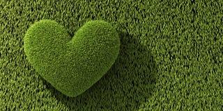Abstract one heart on grass. 3d illustration vector illustration
