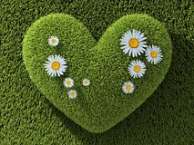 Abstract one heart in grass. Abstract one heart green in grass and flower. 3d illustration Royalty Free Stock Image