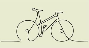 Abstract one line drawing with bike. Abstract one line drawing background with bike royalty free illustration