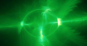 Abstract Ontwerp in de Groene en Gele Deeltjes van Lijnenkrommen Stock Afbeelding