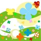 Abstract ontwerp met bloemen stock illustratie
