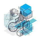Abstract ontwerp met 3d lineaire netwerkvormen en cijfers, vector Stock Afbeelding