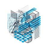 Abstract ontwerp met 3d lineaire netwerkvormen en cijfers, vector i Royalty-vrije Stock Afbeeldingen