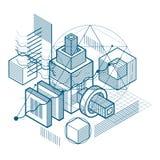 Abstract ontwerp met 3d lineaire netwerkvormen en cijfers, vector i Stock Afbeeldingen