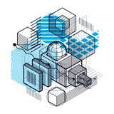 Abstract ontwerp met 3d lineaire netwerkvormen en cijfers, vector i Stock Foto