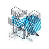 Abstract ontwerp met 3d lineaire netwerkvormen en cijfers, vector i Stock Afbeelding