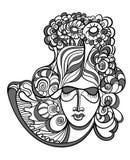 Abstract ontwerp met het gezicht van de vrouw stock illustratie