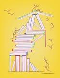 Abstract ontwerp met vele boeken en stokcijfers die zich rond bewegen Royalty-vrije Stock Afbeeldingen
