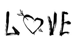 Abstract ontwerp van het van letters voorzien en hart met een pijl stock illustratie