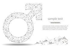 Abstract ontwerp van mannelijk symbool geïsoleerd van lage polywireframe op witte achtergrond Vector abstract veelhoekig beeld Royalty-vrije Stock Foto