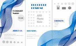 Abstract ontwerp voor brochure met blauwe banden en symbolen Royalty-vrije Stock Afbeelding
