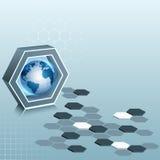 Abstract ontwerpmalplaatje, drie afmetingensamenstelling met zeshoeken en Aardebol Royalty-vrije Stock Afbeeldingen