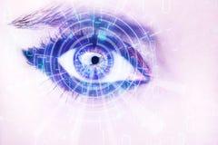 Abstract oog met digitale cirkel Futuristisch van de visiewetenschap en identificatie concept Royalty-vrije Stock Afbeelding