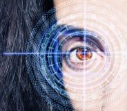 Abstract oog met digitale cirkel Futuristisch van de visiewetenschap en identificatie concept Royalty-vrije Stock Fotografie