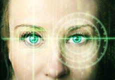 Abstract oog met digitale cirkel Futuristisch van de visiewetenschap en identificatie concept Stock Afbeeldingen