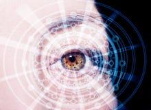 Abstract oog met digitale cirkel Futuristisch van de visiewetenschap en identificatie concept Stock Afbeelding