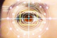 Abstract oog met digitale cirkel Futuristisch van de visiewetenschap en identificatie concept Royalty-vrije Stock Afbeeldingen