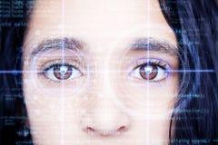 Abstract oog met digitale cirkel Futuristisch van de visiewetenschap en identificatie concept Royalty-vrije Stock Foto's