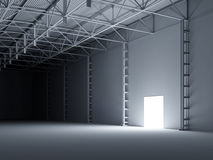 Abstract open door inside of storehouse 3d illustration Royalty Free Stock Images