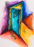 Abstract open door with light royalty free illustration
