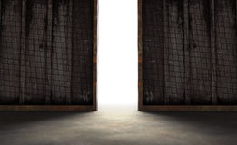 Abstract opening in wall with bright daylight in concrete interi Stock Photos